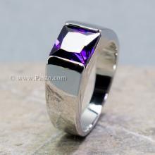 แหวนพลอยอะเมทิสต์ แหวนผู้ชาย พลอยสี่เหลี่ยม พลอยสีม่วง แหวนเงินแท้