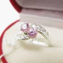 แหวนไข้ว แหวนเงินแท้ แหวนพลอยแฝด แหวนสีชมพู 2เม็ด บ่าเพชร