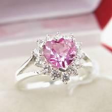 แหวนหัวใจ แหวนเงินแท้ แหวนพลอยสีชมพู ล้อมเพชร แหวนเงิน 925 รูปหัวใจ