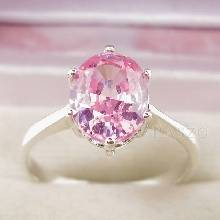 แหวนพลอยสีชมพู เม็ดเดี่ยว โทพาซสีชมพู แหวนเงินแท้ 925