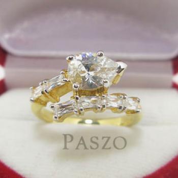 แหวนเพชรทรงหยดน้ำ แหวนทองชุบ แหวนเพชร #2