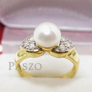 แหวนไข่มุก ประดับเพชร แหวนชุบทอง #2