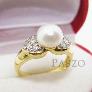 แหวนไข่มุก ประดับเพชร แหวนชุบทอง #3