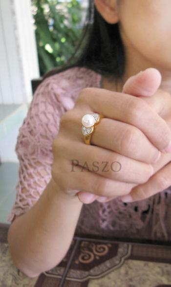 แหวนไข่มุก ประดับเพชร แหวนชุบทอง #4