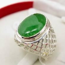 แหวนหยก แหวนผู้ชายเงินแท้ แหวนฉลุลายตาข่าย แหวนหยกผู้ชาย