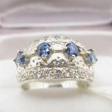 แหวนไพลิน แหวนเงินแท้ฝังพลอยไพลิน พลอยสีน้ำเงิน ประดับเพชร แหวนคลาสสิก