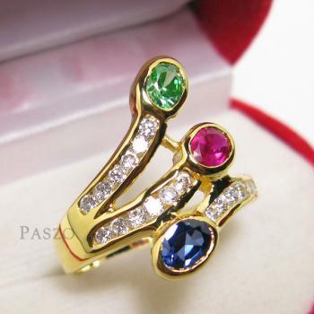 แหวนพลอยหลากสี พลอย3เม็ด ประดับเพชร #2