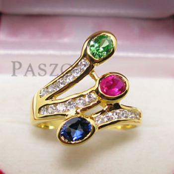 แหวนพลอยหลากสี พลอย3เม็ด ประดับเพชร #3