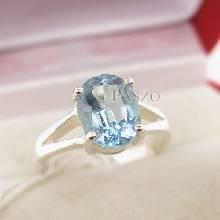 แหวนพลอยอะความารีน แหวนเงินแท้ ขาแฉก ฝังพลอยสีน้ำทะเล
