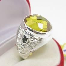 แหวนมังกร ฝังพลอยบุษราคัม พลอยสีเหลือง แหวนผู้ชายเงินแท้ แหวนผู้ชาย