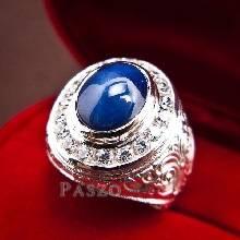 แหวนพลอยไพลิน แหวนพลอยนิหร่า ล้อมเพชร แกะลายไทย แหวนผู้ชายเงินแท้