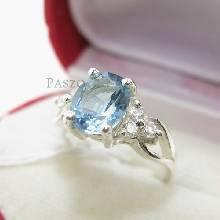 แหวนอความารีน เพชรข้างละ3เม็ด แหวนเงินแท้ พลอยสีฟ้า แหวนผู้หญิง