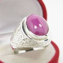แหวนพลอยลิลลี่สตาร์ แหวนผู้ชายเงินแท้ ตัวเรือนแหวนเงินแท้ แกะลายไทย