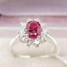 แหวนทับทิม พลอยสีแดง ล้อมเพชร แหวนเงินแท้ 925