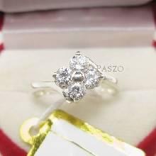 แหวนเพชร แหวนเงินฝังเพชร แหวนดอกไม้