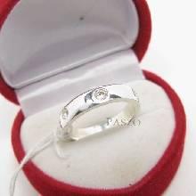 แหวนเพชร 3เม็ด กว้าง4มิล แหวนเงินฝังเพชร แหวนเพชรเม็ดเดี่ยว