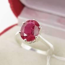แหวนพลอยทับทิม แหวนเงินแท้ ฝังพลอยสีแดง เม็ดเดี่ยว หนามเตย6จุด