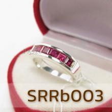 แหวนทับทิม แหวนแถว แหวนเงินแท้ แหวนพลอยสีแดง ทับทิม 6เม็ด