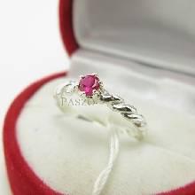 แหวนทับทิม พลอยสีแดง เม็ดกลมเล็กๆ บ่าแหวนตีเกลียว แหวนเงินแท้