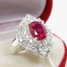แหวนทับทิม แหวนเงินแท้ ฝังพลอยสีแดง ล้อมเพชร แหวนรุ่นใหญ่