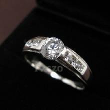แหวนเพชร แหวนเงินฝังเพชร แหวนเงินแท้ เพชร 7เม็ด