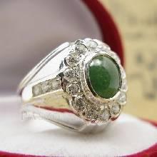 แหวนหยกผู้ชาย ล้อมเพชร แหวนผู้ชายเงินแท้ แหวนผู้ชาย
