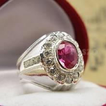 แหวนทับทิม แหวนเงินผู้ชาย แหวนทับทิมผู้ชาย ฝังพลอยทับทิม พลอยสีแดง ล้อมเพชร แหวนเงินแท้ 925 แหวนผู้ชาย