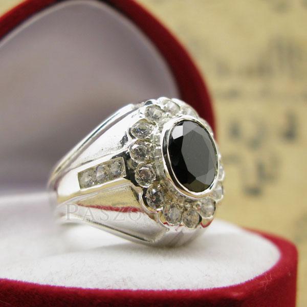 แหวนผู้ชาย ฝังนิล ล้อมรอบด้วยเพชร #2