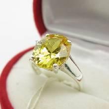 แหวนพลอยบุษราคัม พลอยสีเหลือง พลอยเม็ดเดี่ยว แหวนเงินแท้