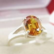 แหวนพลอยบุษราคัม สีเหลืองส้มหรือพลอยแม่โขง แหวนเงินผู้หญิง แหวนเงินแท้