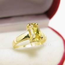 แหวนบุษราคัม แหวนทอง90 ฝังพลอยบุษราคัม พลอยสีเหลือง เม็ดสี่เหลี่ยม