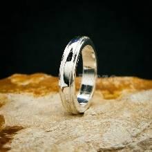 แหวนขอบลดระดับ หน้ากว้าง4มิล แหวนเงินแท้ แหวนเกลี้ยง