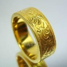 แหวนทองเกลี้ยง แหวนลายไทย แหวนทองแท้ สลักลายไทย รอบวงไร้รอยต่อ แหวนเกลี้ยง