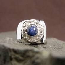 แหวนพลอยนิหร่า แหวนไพลิน แหวนผู้ชาย แหวนเงินแท้