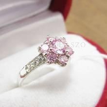 แหวนพลอยสีชมพู ประดับเพชร แหวนเงินแท้925