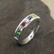 พลอยแฟนซี แหวนเงิน แหวนแถว 7เม็ด