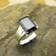 แหวนเงิน ฝังนิล ทรงสี่เหลี่ยม แหวนนิล ตัวแหวนเงินแท้925