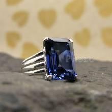 แหวนเงินแท้ ฝังพลอยไพลิน พลอยสีน้ำเงิน เจียรเหลียม แหวนไพลิน