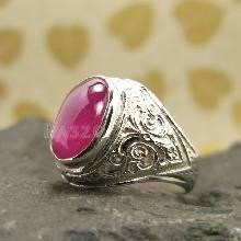 แหวนพลอยผู้ชาย ทับทิม แหวนทรงมอญ แหวนเงินแท้ 925 แหวนทับทิมผู้ชาย แหวนผู้ชาย