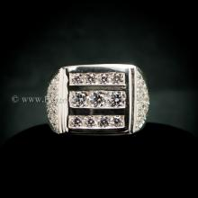 แหวนเพชร แหวนผู้ชาย เพชรสวิส แหวนเงินแท้ แหวนแถว สามแถว บ่าฝังเพชร
