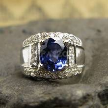 แหวนพลอยผู้ชาย แหวนพลอยไพลิน ฝังเพชร แหวนเงินแท้
