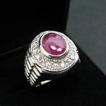 แหวนโรเล็กซ์ แหวนทับทิม ล้อมเพชร แหวนพลอยผู้ชาย แหวนผู้ชายเงินแท้ ชุบทองคำขาว แหวนผู้ชาย